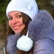 Girls winter fun in the park - Foto Stock