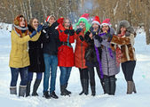 Girls winter fun in the park — Stock Photo