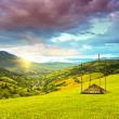 Evening landscape in the mountains - Stock Photo