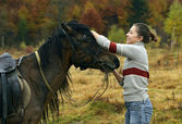 Equestrian tourism in the Carpathians — Stock Photo