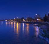 Night city landscape winter Ternopil — Stock Photo