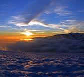 Mroźny dzień jest w górach — Zdjęcie stockowe