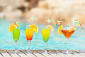 Cocktails near the swimming pool — Stock Photo
