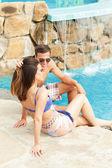 Couple Having Fun In Swimming Pool — Stock Photo