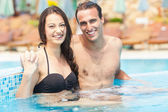 Couple Having Fun In Swimming Pool — Stock Photo