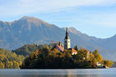 Old medieval church with monastery in Bled, Slovenia — Stock Photo