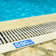 Stock Photo: Swimming pool depth sign