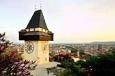 Old clock tower in the city of Graz, Austria — Stock Photo