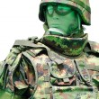 Soldier with digital camouflage uniform — Stock Photo