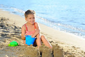 Toddler girl at beach — Photo