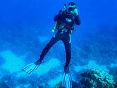 Underwater cameraman — Stock Photo