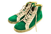 Green suede gumshoes — Stock Photo