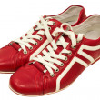 Постер, плакат: Red leather sneakers