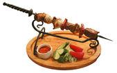 Shish kebab on a skewer — Stock Photo