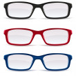 Eyeglasses, black, red and blue — Stock Vector