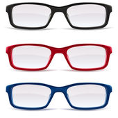 Eyeglasses, black, red and blue — Stockvector