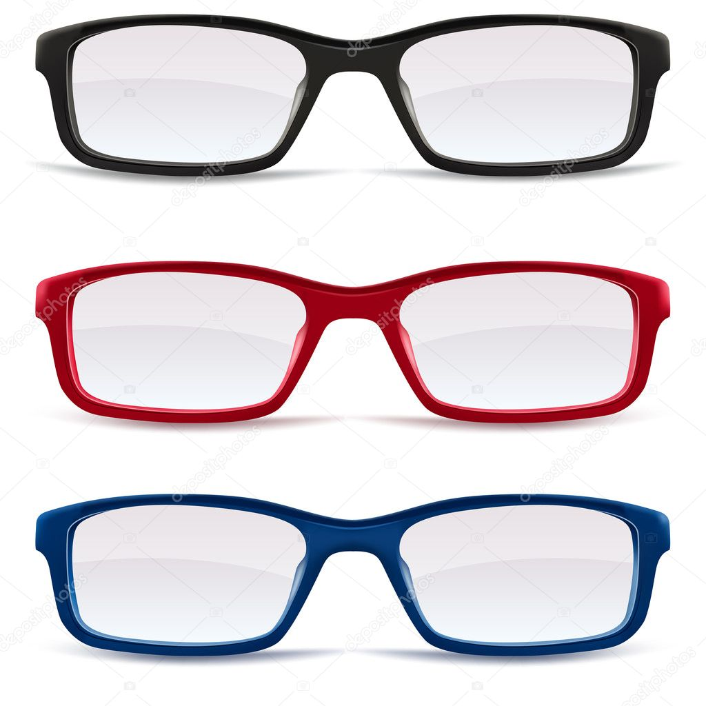 Collection of Eyeglasses, black, red and blue isolated on white background, illustration — Stock Vector #12721704