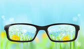 Eyeglasses, nature in focus — Stock Vector