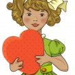 Girl with heart — Stock Vector #18737453