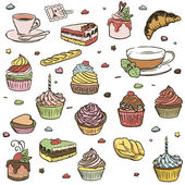 Cupcakes kümesi — Stok Vektör