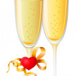 Champagne, heart — Stock Vector
