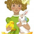 Vintage easter girl — Stock Vector