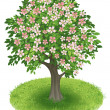 Royalty-Free Stock Vector Image: Blossoms Tree in green field