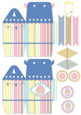 Cupcake box template — Stock Vector