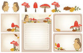 Autumn woodland stationery — Stock Vector