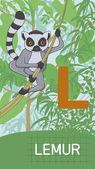 Letra l, animal abc — Vetor de Stock