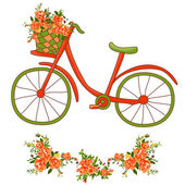 Bicycle with a basket — Stock Vector