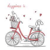 Bicycle with a flowers and dog — Stock Vector