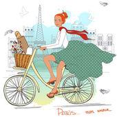 Ragazza di bicicletta — Vettoriale Stock