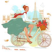 Bicycle girl — Stock Vector