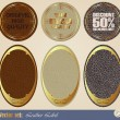 Stock Vector: Leather gold-framed labels