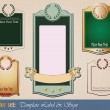 Stock Vector: Gold-framed labels templates