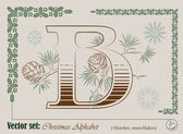 Vector Initials of the English Christmas alphabet — Stock vektor