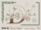 Vektorové iniciály anglické abecedy vánoční — Stock vektor