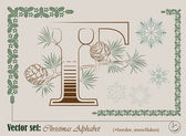 Vector Initials of the English Christmas alphabet — Stock Vector