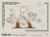 Vettore iniziali dell'alfabeto inglese natale — Vettoriale Stock