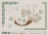 Vektor-initialen des englischen alphabets weihnachten — Stockvektor