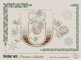 вектор инициалы алфавит английский рождественские — Cтоковый вектор