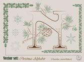 Vector iniciales del alfabeto inglés Navidad — Vector de stock