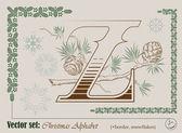 Vektor bokstäverna i alfabetet jul — Stockvektor