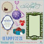 рождество и новый год надписи, элементы и стола — Cтоковый вектор