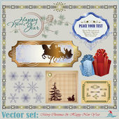 Christmas and New Year's Inscriptions, items and backgrounds — Stock Vector