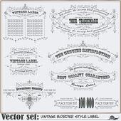 Gränsen stil etiketter på olika ämnen — Stockvektor