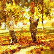 Children playing with autumn fallen leaves in park — ストック写真