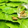 Pills in jar over green leaves. Healthy vitamin concept — Stock Photo #13498278