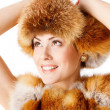 Woman fur hat: winter fashion — Stock Photo